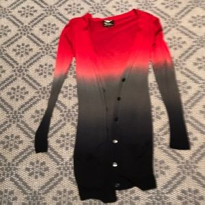 Red/grey/black ombré sweater. From LF store.
